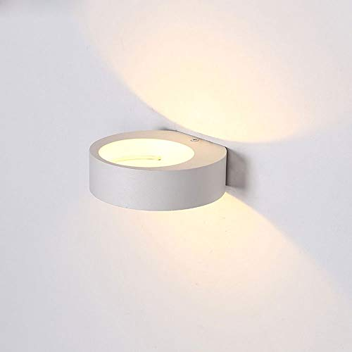 Modern minimalisme, kunst design, LED-wandlamp, wandlamp van aluminiumlegering, ronde witte wandlamp, boven- en onderlicht, nachtkastlampje, gangbalkon-wandlamp, studie, kleine straal
