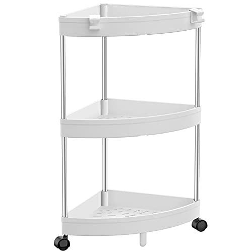 SOLEJAZZ Corner Shelves, 3-Tier Corner Shower Caddy, Bathroom Caddy Organizer Corner Display Rack Multipurpose Shelving Unit for Living Room, Bathroom, Small Spaces, White