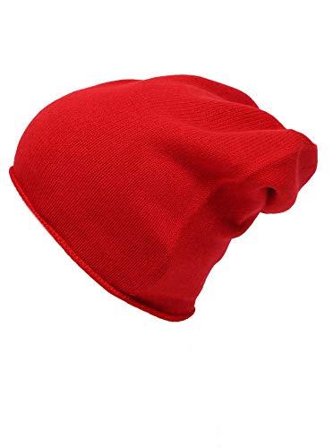 Zwillingsherz Slouch-Beanie-Mütze aus 100% Kaschmir - Hochwertige Strickmütze für Damen Mädchen Jungen - Hat - Unisex - One Size - warm und weich im Sommer Herbst und Winter - rot