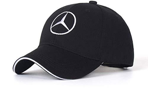 SUJWEL Car Logo Adjustable Baseball Cap,Unisex Hat Travel Cap Car Racing Motor Hat fits for Mercedes-Benz (Black)