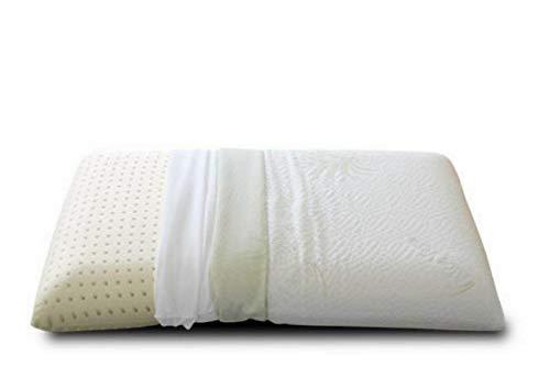 EVERGREENWEB Cuscino Letto 40x70 alto 12 cm Modello Saponetta Imbottitura 100% MEMORY FOAM doppia fodera ALOE VERA e Cotone Sfoderabile Guanciale Ortopedico per dolori Cervicali con DISPOSITIVO MEDICO