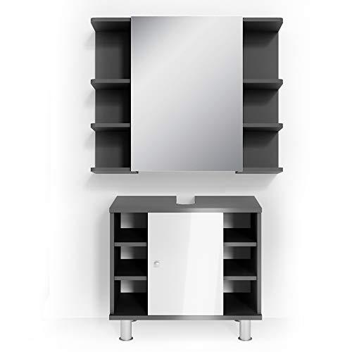 Vicco Badmöbel Set Badezimmermöbel Fynn Spiegel + Unterschrank + Midischrank + Hochschrank (Set 1, Anthrazit)