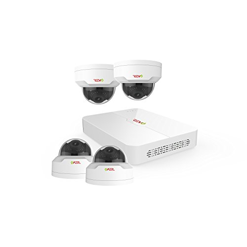REVO America Ultra 4Ch. 1TB HDD 4K IP NVR Security System - Fixed Lens IP Cameras 4 x 4MP Mini Vadal Dome Cameras - Remote Access via Smart Phone, Tablet, PC & MAC, White