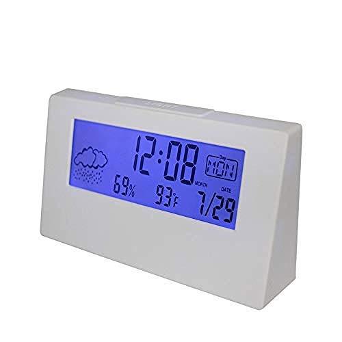 PKLFQQA Reloj Despertador Exquisita Moda Lindo Reloj Temperatura y Humedad Monitor Digital estación meteorológica para Oficina ser