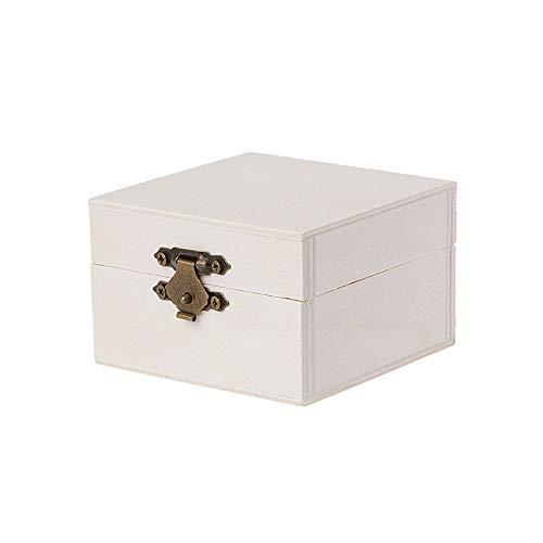 gnrjgs Versier Houten Rond/Vierkante Doos met Scharnierend Deksel en Voorsluiting DIY Sieraden Gift Chest square