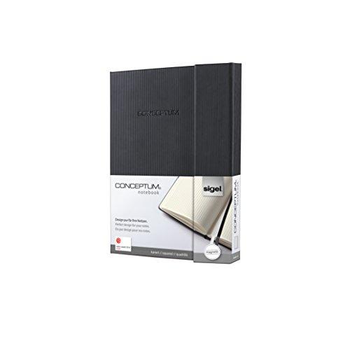 SIGEL CO161 Notizbuch, ca. A5, kariert, Hardcover, schwarz, mit Magnetverschluss, Conceptum - weitere Größen