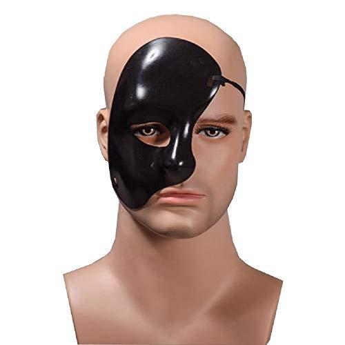 KIRALOVE Media máscara Facial - Fantasma de la ópera - Color Negro - Disfraz Carnaval Halloween Cosplay - Idea de Regalo - Hombre Mujer Unisex - niños Cosplay