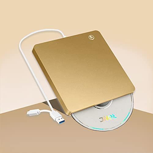 【2021新型】DVDドライブ 外付け USB3.0 タッチ吸入式 DVD/CD/VCD 読取&書込 USB A & Type-C兼用 Mac/ Window/Linux/Vista等対応 高速 薄型 ポータブル CDドライブ(ゴールド)