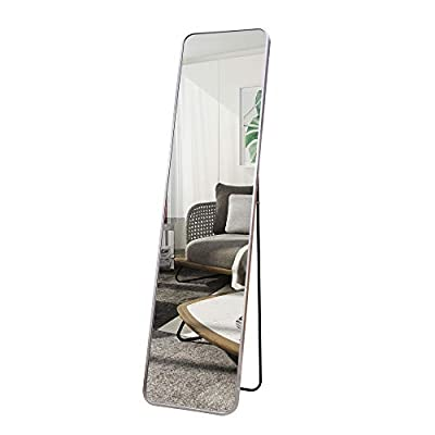 """ABZQH Full Length Floor Mirror, 65""""x21.7"""" Silver Body Mirror Large Free-Standing Aluminum Alloy Frame Decorative Mirror for Bathroom Bedroom Dressing Home Decor"""