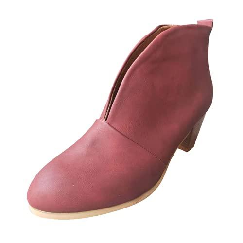 ZBYY Botas de tobillo de tacón medio grueso y apiladas para mujer con corte en V profundo y corte en V, 9, Vino