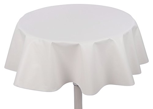 """Yourtablecloth Heavy Duty Flannel Backed Round Vinyl Tablecloth – 6 Gauge Thickness, Indoor and Outdoor & Easy to Clean 60"""" White"""