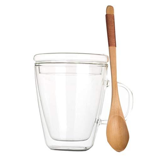 YUESFZWXQ Koffie Bril Dubbellaags Transparant Glas Beker, Geïsoleerde Thee Beker Met Deksel Lepel, Huishoudelijke Koffie Beker, Hittebestendig Glas, Anti-scalding