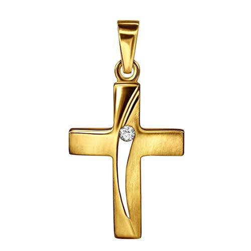 Colgante dorado de pequeña cruz de 16 mm con hoja abierta
