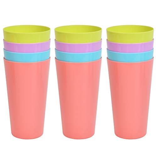 N\A 12 vasos de plástico reutilizables arcoíris para camping, coloridos, apilables, vasos de fiesta, 4 colores