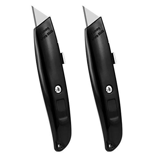 DIYSELF 2Pack Utility Knife Box Cutter Retractable Blade Heavy DutyBlack