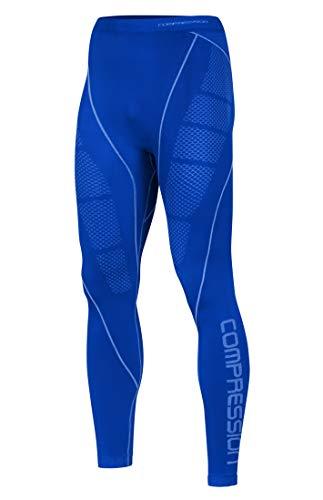 Freenord Compression MID - Ropa funcional para hombre, térmica, transpirable, capa base, pantalones para ciclismo, running (azul, XL)