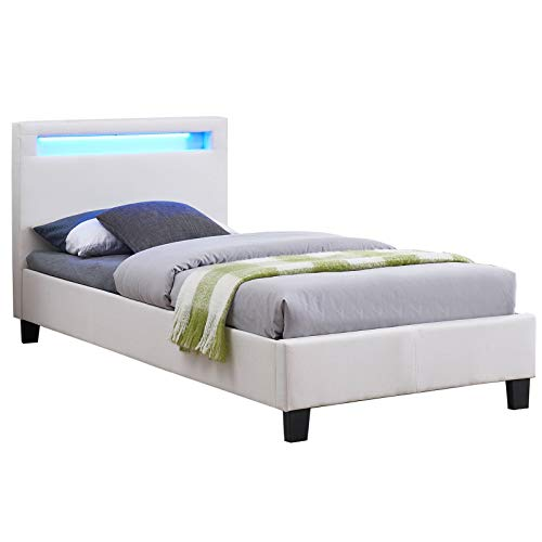 CARO-Möbel Polsterbett Himalaya mit LED Beleuchtung Einzelbett Jugendbett 90 x 200 cm mit Lattenrahmen, in weiß Stoffbezug