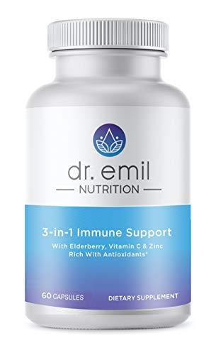 Dr. Emil Nutrition 3-in-1 Immune Support Supplement w/Elderberry (Sambucus), Zinc, Vitamin C, Echinacea and B Vitamins - 60 Count Bottle …