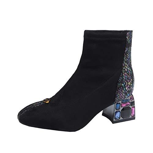 Youpin Botines de serpiente para mujer, gruesos, de tacón alto, para mujer, decoración de cristal, para invierno, cálidos, color negro, talla de zapato: 39