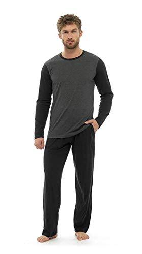 Pijama Hombre Invierno Sudadera Gimnasio 100% Algodón Mangas Largas Set Suave Cómodo Ropa de Dormir (Bota Pierna Corte Gris Carbón, XL)