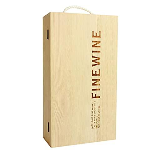 Belleashy Caja de regalo de vino Caja de vino Caja de vino de madera de pino rojo Caja de embalaje de regalo para cumpleaños y ocasión especial