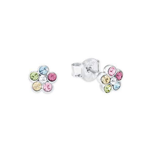 Amor Ohrstecker für Mädchen, Sterling Silber 925, Kristallglas Blume