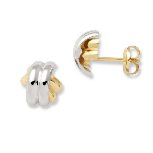 Miore Schmuck Damen gekreuzte Ohsrstecker Ohrringe aus bicolor Gelbgold und Weißgold 18 Karat / 750 Gold