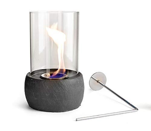 Glasfeuer Stone Tischkamin Feuerstelle Kamin Tischfeuer Bio Ethanol (Dunkelgrau)