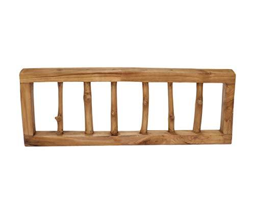 Brillibrum Perchero de pared de diseño de madera de teca, 6 ramas como perchero, madera reciclada, estilo shabby chic