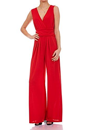 Laeticia Dreams Eleganter Damen Overall Jumpsuit V Ausschnitt S M L XL, Farbe:Rot, Größe:36 S
