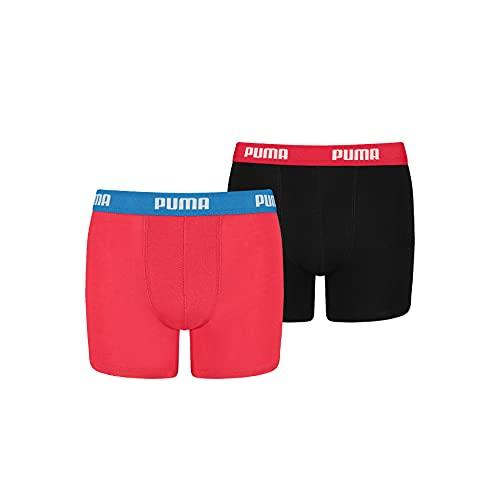 PUMA Boys Basic Boxer Boxershorts, red/Black, 140 (2er Pack)