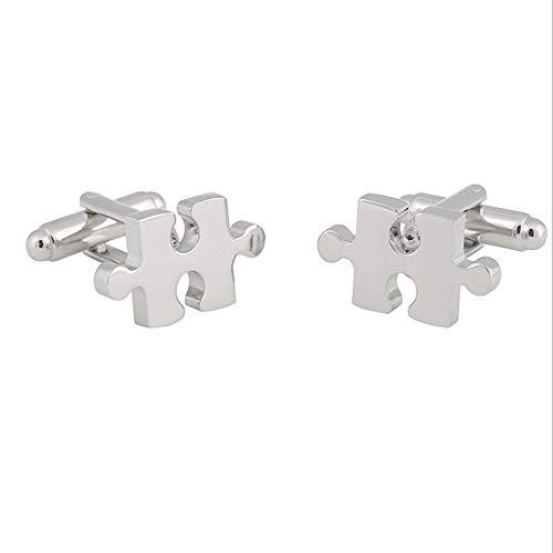 WYLCDGEOO Puzzle Manschettenknöpfe Piktogramme Serie Weiße Stahlfarbe Metall Hochwertige Manschettenknöpfe