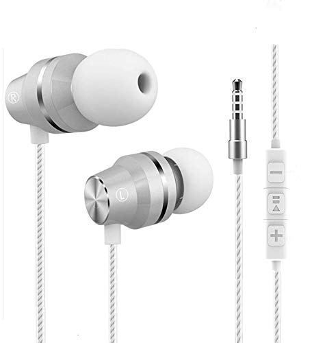 Earbuds with Microphone Bass in Ear Earphones with Mic and Volume Control 3.5mm Headphone Plug White