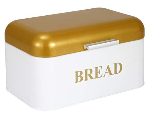 Brotkasten für Küchentheke mit Deckel, Vorratsbehälter für trockene Lebensmittel, eiserne Brotkiste - Ideal zur Aufbewahrung von Brotlaib, Backwaren und hausgemachtem Brot-Weißes Gold