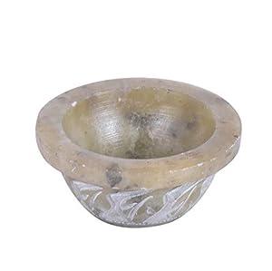 elite DECORIO Floral Bowl Incense Burner Smudge Smudging Soapstone Pot Sage Offering Stone Charcoal Dia. 1.5 Inch, 1 Inch Natural Color