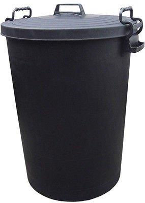 110L HEAVY DUTY BLACK PLASTIC RUBBISH REFUSE BIN WASTE W/ LOCKING LID