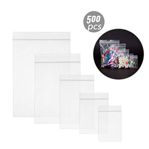 Naler 500 x Druckverschlussbeutel in 5 Größen Transparent ZIP Beutel Druckverschluss Tütchen - 80 mµ/my