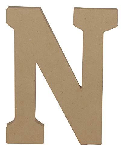 Décopatch AC865C Un Support en Papier brun mâché 16x2,5x20 cm, Lettre Majuscule N Paper Mache Item, Brown, 16x2.5x20cm