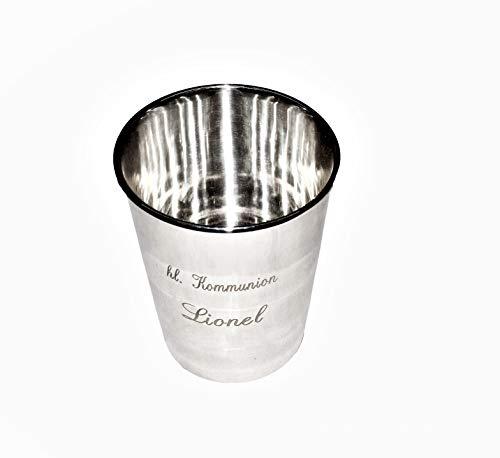 Brillibrum Design Becher Versilbert Metall Silber Gourmet Tasse Trinkbecher Stiftebecher (Becher - Groß (Gravur bis 20 Zeichen))