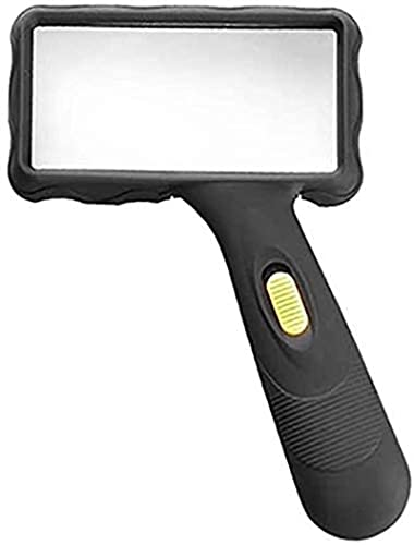 GDEVNSL Lupa de Alto Rendimiento Vidrio HD Antideslizante Mate Espejo ampliado de Mano Lámpara LED Lectura Antigua Reparación de teléfonos móviles Espejo de expansión portátil Chil