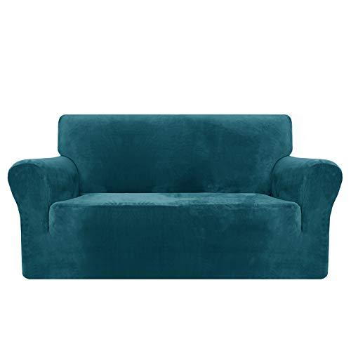 MAXIJIN Thick Velvet Sofabezüge 2-Sitzer Stretch rutschfeste Loveseat Bezüge für Wohnzimmer Hunde Pet Plüsch Love Seat Couch Schonbezüge Furniture Protector (2 Sitzer, Schwarzgrün)