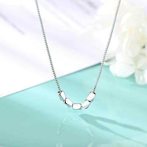 N/A Collar Collar De Grano De Mijo Collar Femenino Simple Cadena De Clavícula Corta Cadena De Conjunto De Gorro Cuadrado Pequeño Simple Regalo De Cumpleaños