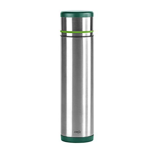 Emsa 512961 Isolierflasche, Mobil genießen, 1 l, Safe Loc Pro Verschluss, Grün-Hellgrün, Mobility