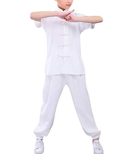 Unisex Bambino 2 Pezzi Abiti da Arti Marziali Tai Chi Manica Corta Uniforme Kung Fu Bianco 160