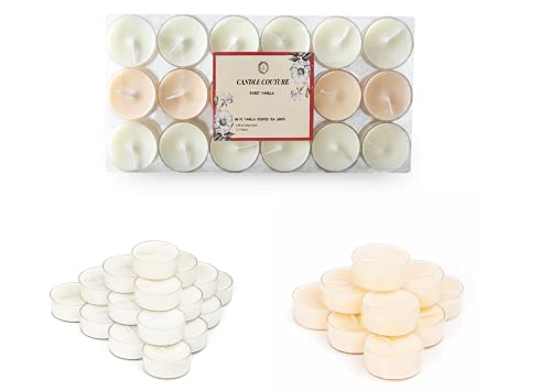 Candle Couture Vanilla Scented Candles, 36 Pack Tea Light Candle with Clear Cup, Highly Scented 95% Soy Wax, Natural Essential Oils, Tealights Long Burning Time, Candle Gift Set for Women
