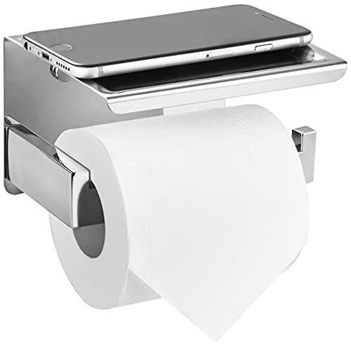 HITSLAM Toilettenpapierhalter mit Ablage Ohne Bohren klopapierhalter Selbstklebend Klorollenhalter WC Papier Halterung Rollenhalter für Badzimmer - Poliert Edelstahl