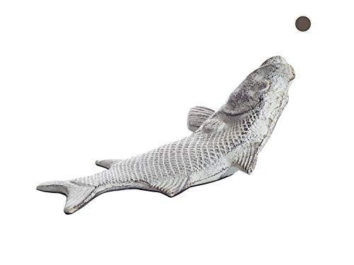 Vintage Cast Iron Fish Door Stop Wedge by Comfify   Lovely Decorative Finish, Padded Anti-Scratch Felt Bottom Protects Floors   in Antique White (Fish Door Stop CA-1507-15)