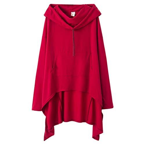Xmiral Kapuzenpullover Damen Einfarbig Große Größe Sweatshirt mit Tasche Unregelmäßiger Saum Pullover Lose Tunika Jumper T-Shirt Tops(Weinrot,3XL)
