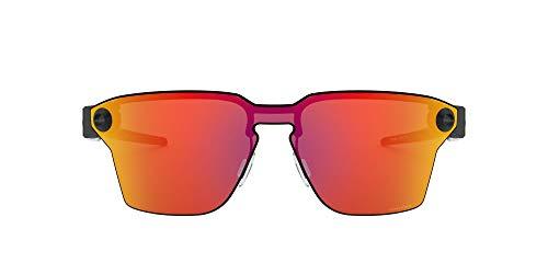Oakley OO4139 Lugplate Square Metal Sunglasses , Polished Black/Prizm Ruby, 39 mm