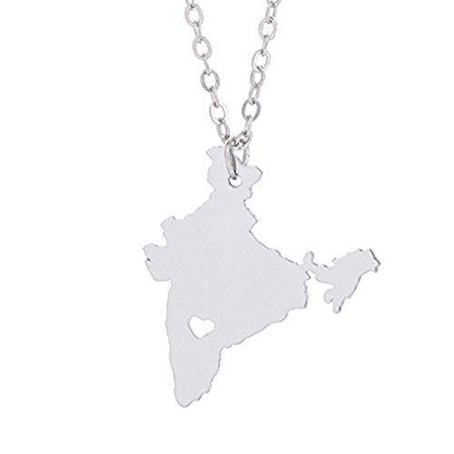India Necklace, Silver Necklace, Map Necklace, I heart India, I love India